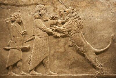 Plakat Asyryjskie warrior polowanie lwów