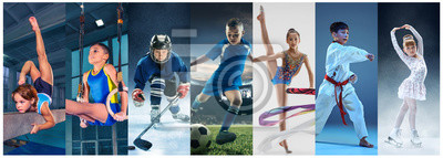 Plakat Attack. Sport collage about teen or child athletes or players. The soccer football, ice hockey, figure skating, karate martial arts, rhythmic gymnastics. Little boys and girls in action or motion