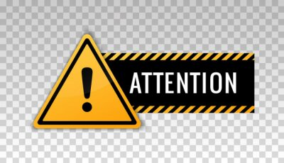 Plakat Attention sign. Hazard warning caution board. Attract attention. Exclamation mark. Triangle frame. Striped frame. Precaution message on banner. Design with alert icon. Concept caution dangerous areas