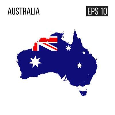 Plakat Australia mapy granica z chorągwianym wektorem EPS10