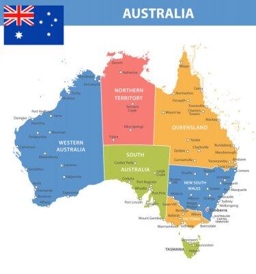 Plakat Australia Odcienie kolorów miast w regionach
