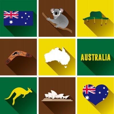 Plakat Australia Płaski zestaw ikon. Zestaw Vector Graphic płaskich ikon reprezentujących zabytków i symboli Australii.