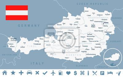 Plakat Austria - mapa i flaga - ilustracja