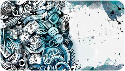 Plakat Auto hand drawn doodle banner. Cartoon detailed flyer.