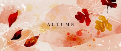 Plakat Autumn background design  with watercolor brush texture, Flower and botanical leaves watercolor hand drawing. Abstract art wallpaper design for wall arts, wedding and VIP invite card. vector eps10