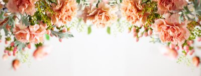 Plakat Autumn composition made of beautiful flowers on light backdrop. Floristic decoration. Natural floral background.