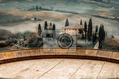 Plakat Autumn landscape of Tuscany and fall time.  Free space for your decoration.