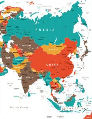 Plakat Azja Mapa - Ilustracji Wektorowych