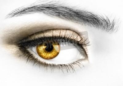 B & W zdjęcie prawo oczu kobiety z kolorowym złote gałki ocznej