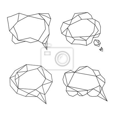 Bąbelki mowy stylizowane trójkąta modelu wielobocznego
