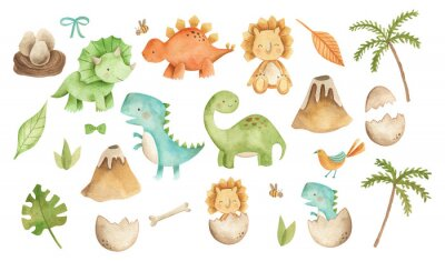 Plakat Baby Dinosaurs watercolor illustration with  cute animals for nursery and baby shower