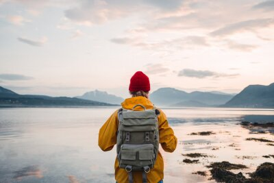 Plakat Back view of male tourist with rucksack standing on coast in front of great mountain massif while journey.  Man traveler wearing yellow jacket with backpack explore nature. Wanderlust lifestyle