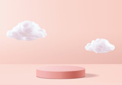 Plakat Background vector 3d pink rendering with podium and minimal cloud white scene, minimal cloud abstract background 3d rendering geometric shape pink pastel podium. Stage and cloud 3d render