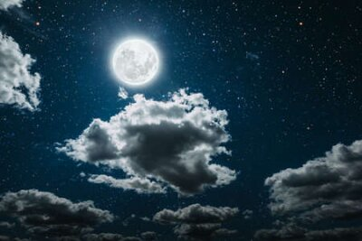 Plakat backgrounds night sky with stars and moon and clouds.