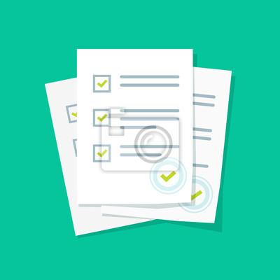 Plakat Badanie lub formę egzaminu stos arkuszy papieru z listy kontrolnej odpowiedział quizu i oceny wyników sukces, idei testu edukacji, kwestionariusz, ilustracji wektorowych Dokument płaskim stylu