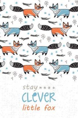 Plakat Bądź mądry. Karta dla dzieci z lisów w stylu kreskówki