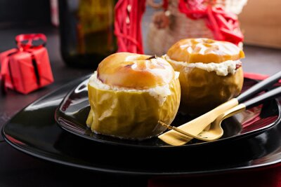 Baked apples stuffed cottage cheese with honey. Healthy Diet Food