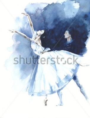 Plakat Balerina tana baletniczego tancerza Giselle akwareli obrazu ilustracyjnego kartka z pozdrowieniami