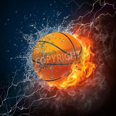 Plakat Ball Koszykówka na ogień i woda. Grafika 2D. Projekt komputerowy.