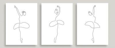 Plakat Ballerina Pose One Line Drawing Prints Set. Woman Dance Pose Minimalist Style. Ballet Line Art Modern Minimal Prints. Trendy Illustration Continuous Line Art. Fashion Minimal Logo. Vector EPS 10