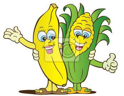 Plakat Bananów I Kukurydzy Zdrowe Odżywianie Znaki Na Wymiar