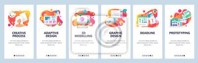 Plakat Banery menu do tworzenia stron internetowych i aplikacji mobilnych. Nowoczesne mieszkanie