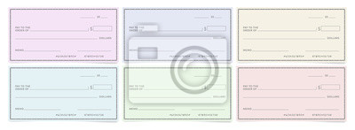 Plakat Bank cheques templates. Blank personal desk checks.