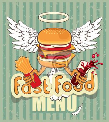 Plakat banner na cheeseburger fast-food ze skrzydłami
