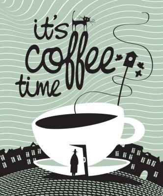 Plakat banner z filiżanką kawy w drzwiach i przechodzień