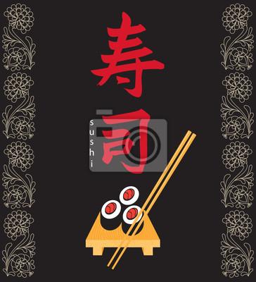 Plakat banner z hieroglif sushi