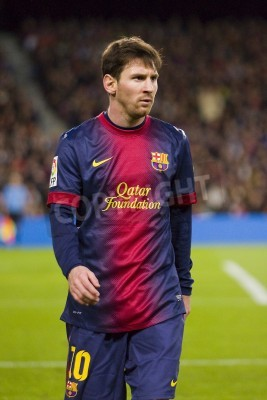 Plakat BARCELONA - DECEMBER 16: Lionel Messi in action at the Spanish League match between FC Barcelona and Atletico de Madrid, final score 4 - 1, on December 16, 2012, in Camp Nou, Barcelona, Spain