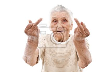Plakat bardzo stara kobieta pokazano jej środkowy palec