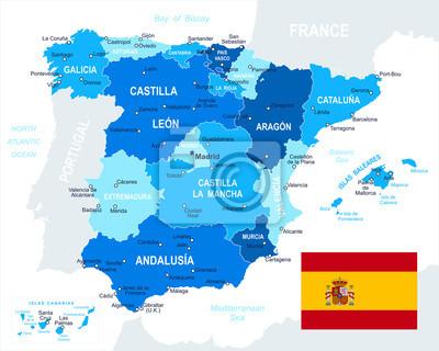 Plakat Bardzo szczegółowe ilustracji wektorowych Hiszpania mapie i flagi. Obraz zawiera kolejnych warstw. Istnieje kontury ziemi, nazwy kraju i lądowe, nazwy miasta, nazwy obiektów wody, flagi.