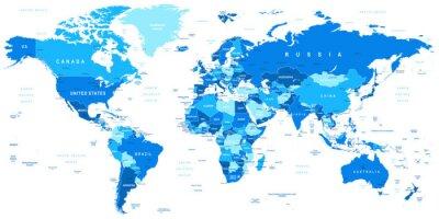 Plakat Bardzo szczegółowe ilustracji wektorowych map.Borders świata, krajów i miast.