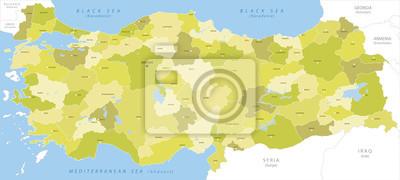 Plakat Bardzo szczegółowe mapy Turcji, wektor.