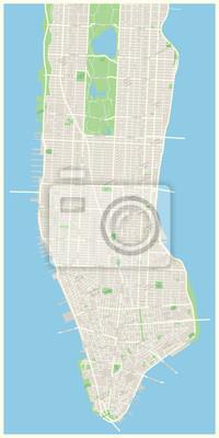 Plakat Bardzo szczegółowe mapy wektorowe tym wszystkich ulic, parków, nazw subdistricts, punkty zainteresowania, etykiety, dzielnic.