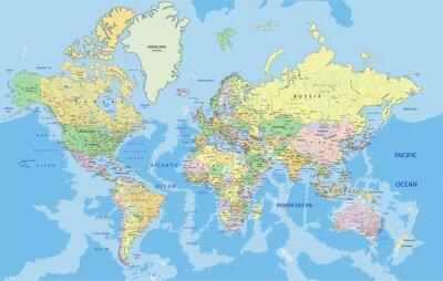 Plakat Bardzo szczegółowe polityczna mapa świata z etykietowania.