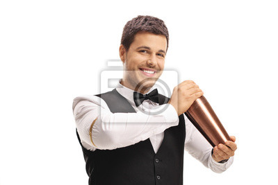 Plakat Barman making a cocktail with a shaker