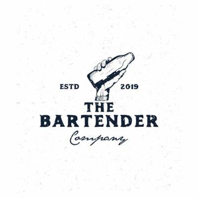Plakat bartender vintage logo template,hand holding bottle hand drawn logo template