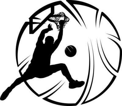 Plakat Basketball Dunk with Stylized Ball
