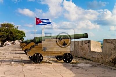 Plakat Bateria armat w Hawanie z widokiem na zatokę