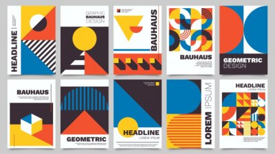 Plakat Bauhaus forms. Square tiles with modern geometric patterns with abstract figures and shapes. Contemporary graphic bauhaus design vector set. Circle, triangle and square lines art