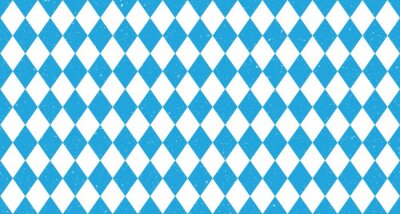 Plakat Bavarian Oktoberfest seamless pattern with blue and white rhombus Flag of Bavaria Oktoberfest blue checkered background Wallpaper Vector old diamonds background with cracks and dust