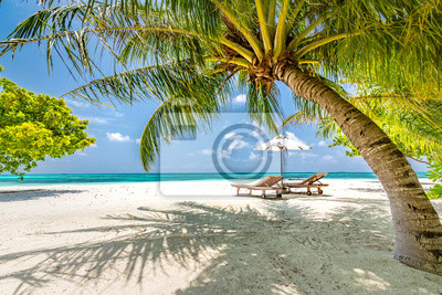 Plakat Beautiful beach. Chairs on the sandy beach near the sea. Summer holiday and vacation concept. Tropical beach landscape. Exotic vacation and summer holiday concept design