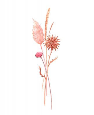 Plakat Beautiful bouquet composition with watercolor herbarium wild dried grass in pink and yellow colors. Stock illustration.