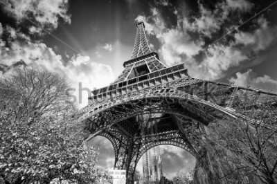 Plakat Beautiful colors of Eiffel Tower and Sky of Paris. Black and white processed