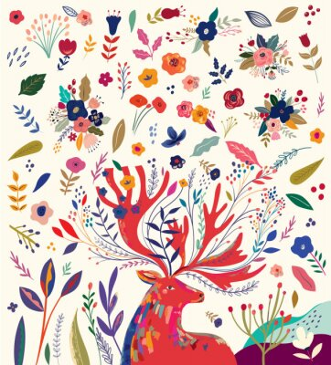 Plakat Beautiful creative art work illustration with flowers and deer