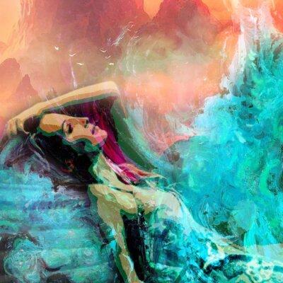 Plakat Beautiful Dreamy Calm Woman Abstract Grunge Illustration Stylish Colorful Juicy Background