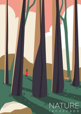 Plakat Beautiful forest landscape. Girl walks with a dog. Flat design. Trendy vector illustration.