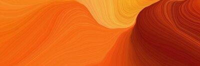 Plakat beautiful futuristic banner with dark orange, maroon and pastel orange color. curvy background illustration